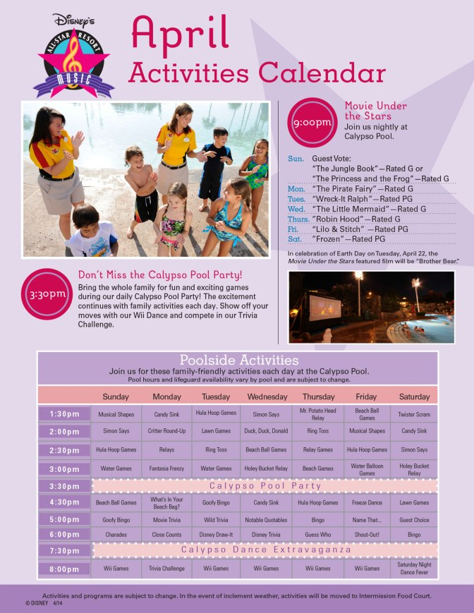 All Star Music Resort Recreation Activity Guide
