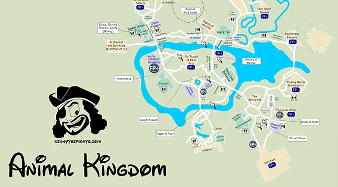 Animal Kingdom Map, KennythePirate Animal Kingdom Map, KennythePirate map, Best Disney World Map