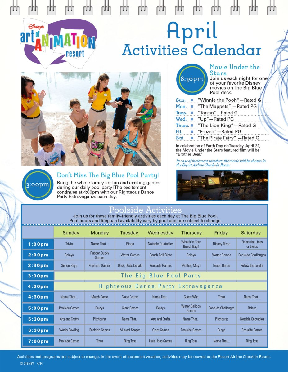 Art of Animation Resort Recreation Activities Guide