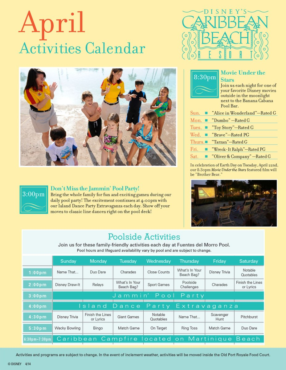 Caribbean Beach Resort Recreation Activities Guide
