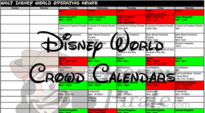 Disney World Crowd Calendar Park Hours KennythePirate