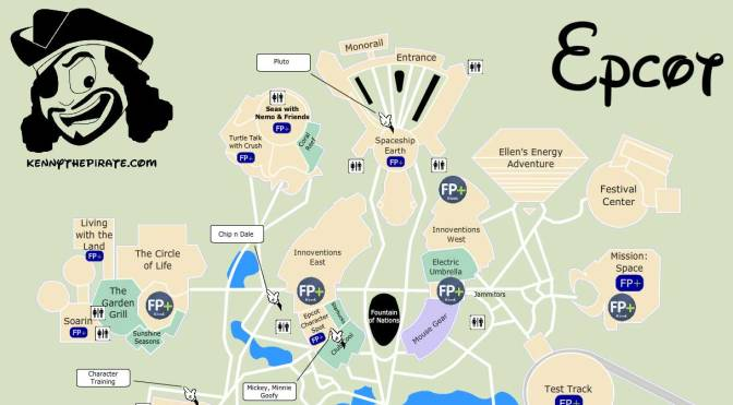 KennythePirate's Epcot Map including Fastpass Plus locations, rides, shows, characters, dining and shopping