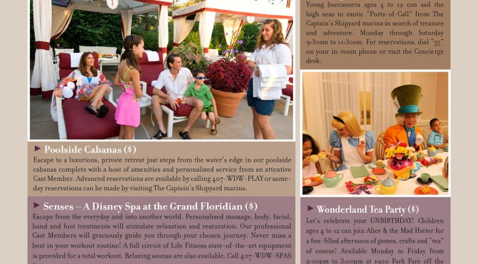Grand Floridian Resort Recreation Activity Guide