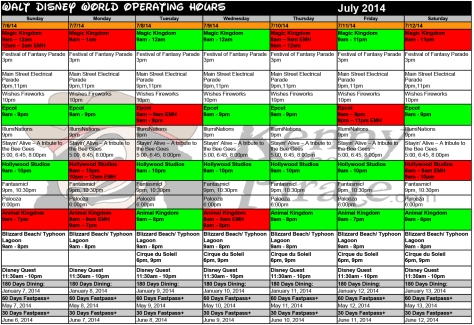 July 2014 Disney World Crowd Calendar Park Hours KennythePirate