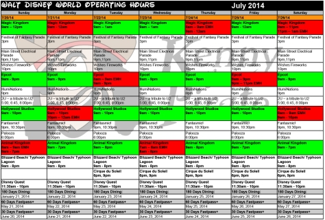 July Disney World Crowd Calendar Park Hours KennythePirate