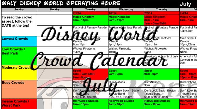 KennythePirate's July Walt Disney World Crowd Calendar with Dining and Fastpass+ Booking Dates