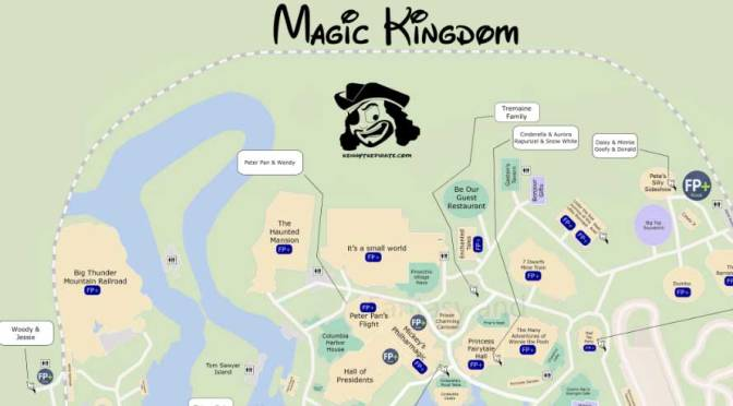 KennythePirate's Magic Kingdom Map including Fastpass Plus locations, rides, shows, characters, dining and shopping