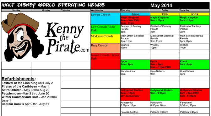 KennythePirate's May Walt Disney World Crowd Calendar with Dining and Fastpass+ Booking Dates