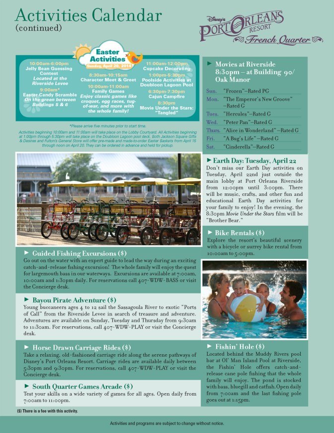 Port Orleans French Quarter Resort Recreation Activity Guide