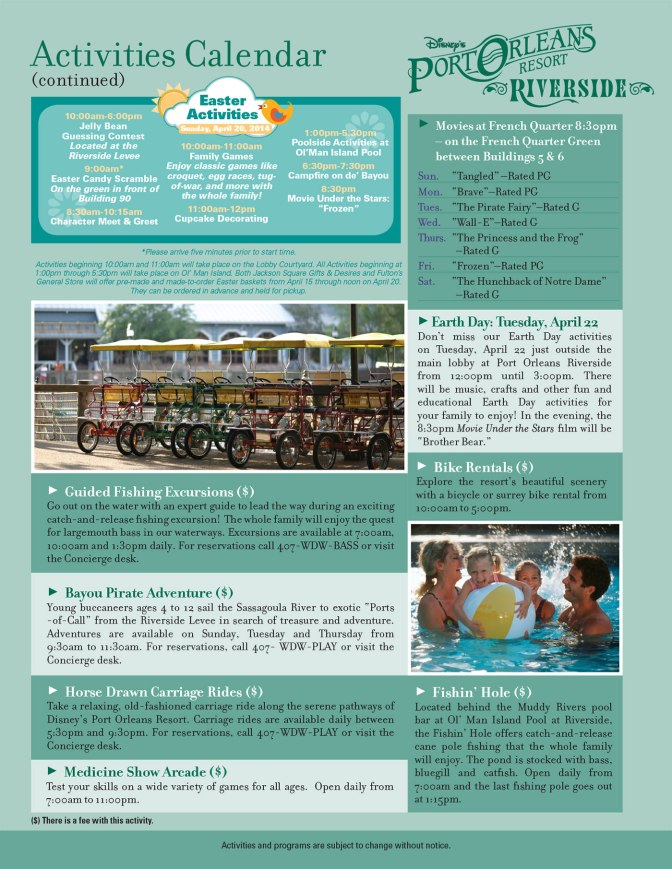 Port Orleans Riverside Resort Recreation Activity Guide