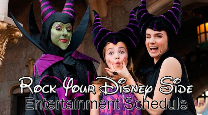 Rock Your Disney Side 24 Hour Magic Kingdom Day entertainment schedule.