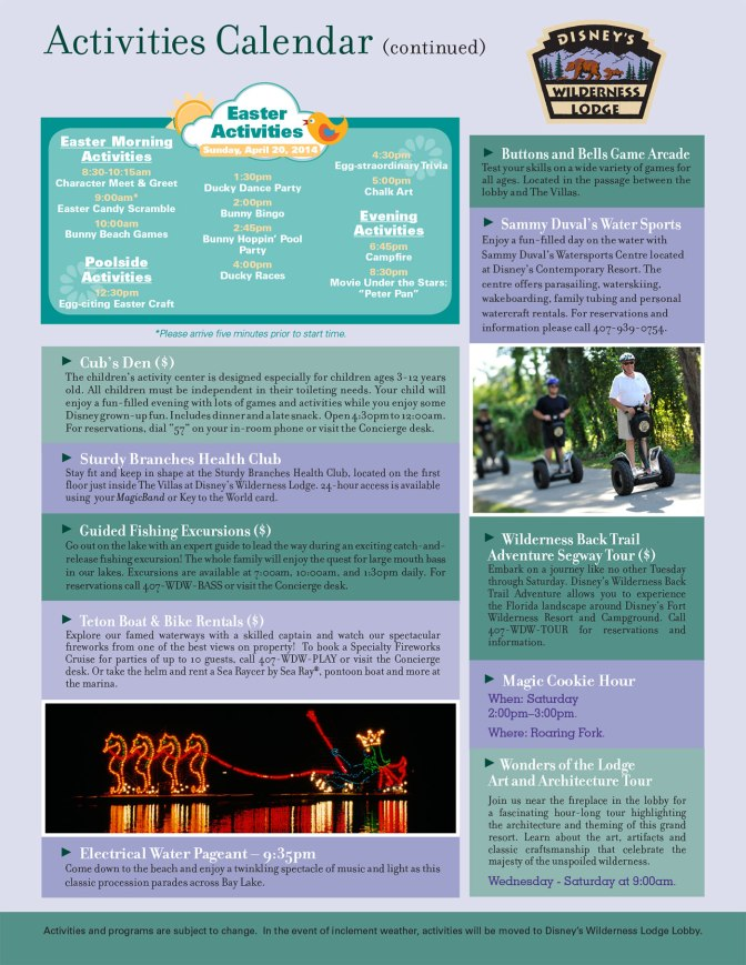 Wilderness Lodge Resort Recreation Activity Guide