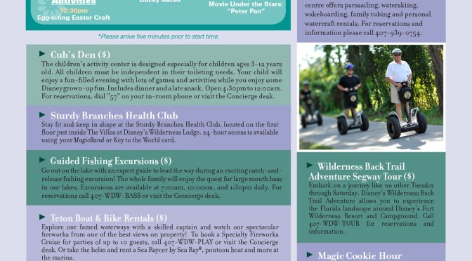 Wilderness Lodge Resort Recreation Activity Guide