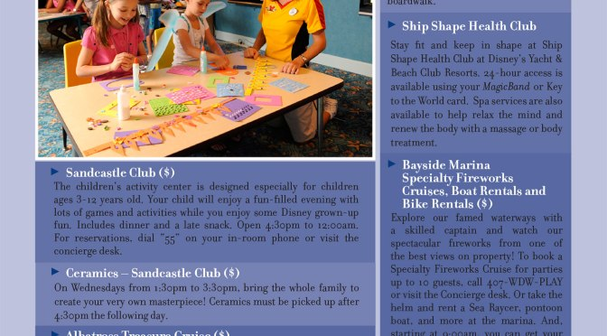 Yacht and Beach Club Resort Recreation Activity Guide