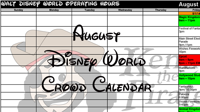 KennythePirate's August Walt Disney World Crowd Calendar with Dining and Fastpass+ Booking Dates