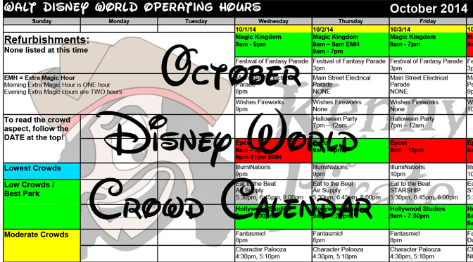 October Disney World Crowd Calendar Park Hours KennythePirate header