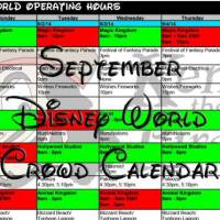 KennythePirate's September Walt Disney World Crowd Calendar with Dining and Fastpass+ booking dates
