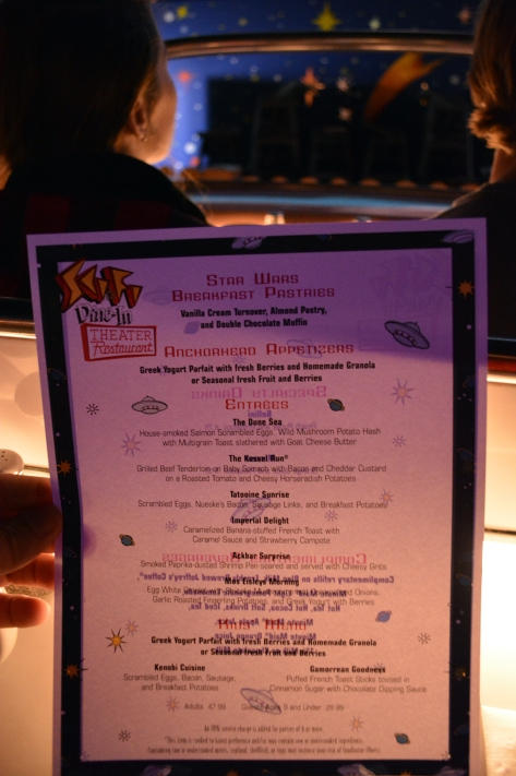 Menu at Star Wars Galactic Dine-in Character Breakfast at Hollywood Studios