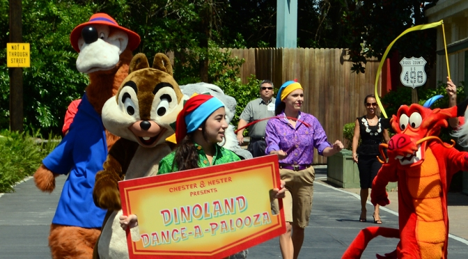 A visit to Dinoland Dance-a-palooza dance party including MUSHU