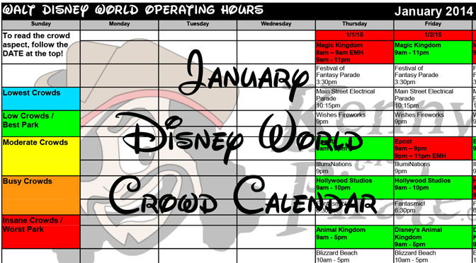 KennythePirate's January Walt Disney World Crowd Calendar with Dining and Fastpass+ Booking Dates