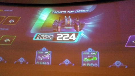 car score at Test Track at Epcot