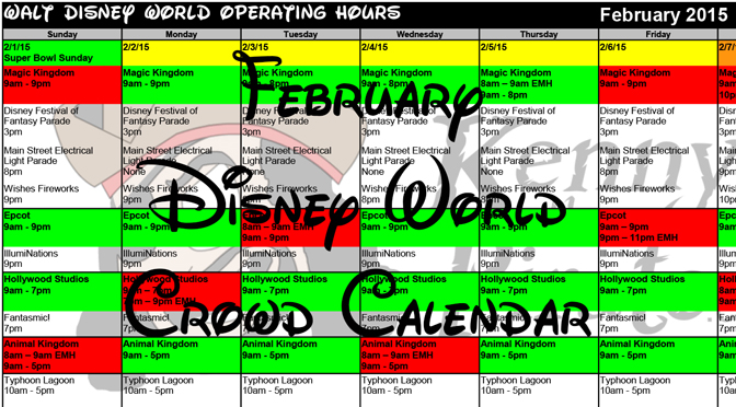 KennythePirate's February Walt Disney World Crowd Calendar with Dining and Fastpass+ Booking Dates