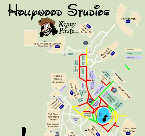 Hollywood Studios  Fireworks Map KennythePirate