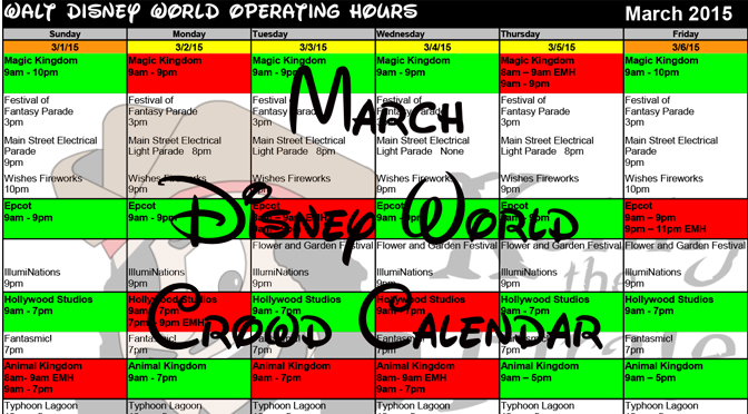 KennythePirate's March Walt Disney World Crowd Calendar with Dining and Fastpass+ Booking Dates