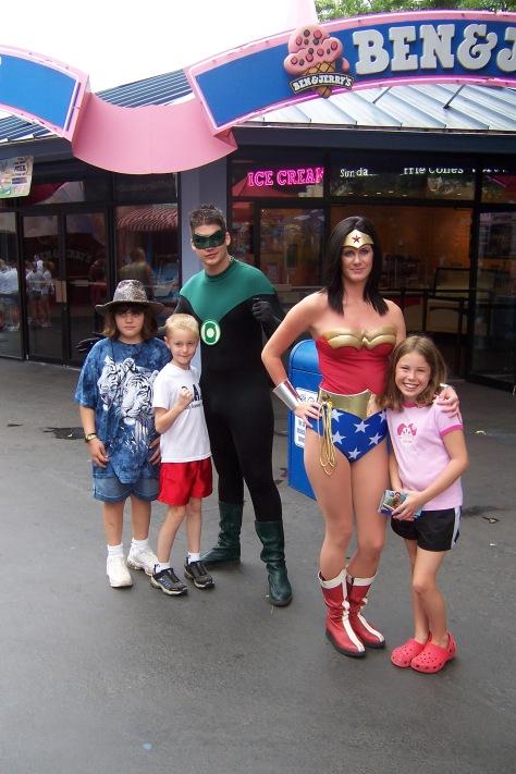 Green Lantern and Wonder Woman Six Flags Texas 2007